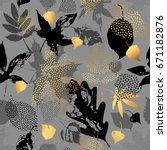 autumn leaves seamless pattern. ... | Shutterstock .eps vector #671182876