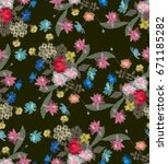seamless transparency floral... | Shutterstock . vector #671185282