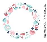 vector flower crown. wreath of... | Shutterstock .eps vector #671185936