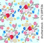 beautiful seamless floral... | Shutterstock .eps vector #671189536