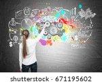 rear view of a blond woman...   Shutterstock . vector #671195602