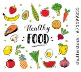 healthy food hand drawn... | Shutterstock .eps vector #671199355
