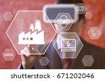 businessman pushing button... | Shutterstock . vector #671202046