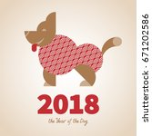 dog is a symbol of the 2018... | Shutterstock .eps vector #671202586