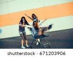 beauty crazy woman shop  party  ... | Shutterstock . vector #671203906