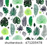 seamless pattern with green... | Shutterstock .eps vector #671205478