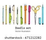 isolated set of stationery hand ... | Shutterstock .eps vector #671212282