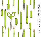 isolated set of stationery hand ...   Shutterstock .eps vector #671212306