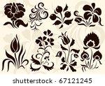 vector set of floral elements | Shutterstock .eps vector #67121245