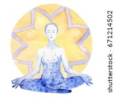 people in the lotus position | Shutterstock . vector #671214502