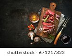 sliced medium rare grilled beef ... | Shutterstock . vector #671217322
