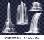 set of realistic waterfalls... | Shutterstock .eps vector #671222152