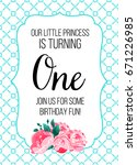 first birthday invitation girl  ... | Shutterstock .eps vector #671226985
