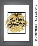 first birthday invitation black ... | Shutterstock .eps vector #671227042