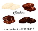 chocolate types set of isolated ... | Shutterstock .eps vector #671228116