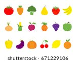 fruit berry vegetable icon set... | Shutterstock . vector #671229106