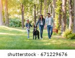 Stock photo young interracial family with dog holding hands and walking in sunny forest 671229676