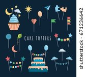 set of decorative toppers for... | Shutterstock .eps vector #671236642