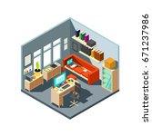 isometric home office interior. ... | Shutterstock .eps vector #671237986