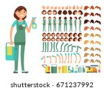 cleaning company employee.... | Shutterstock .eps vector #671237992
