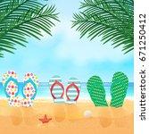vector illustration with ocean... | Shutterstock .eps vector #671250412