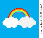 rainbow and two clouds in the... | Shutterstock .eps vector #671254966