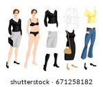 paper doll with clothes for...   Shutterstock .eps vector #671258182