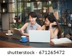 two asian business girl working ... | Shutterstock . vector #671265472