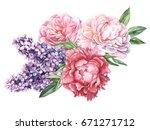 wedding bouquet flowers peonies ... | Shutterstock . vector #671271712