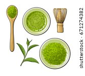 top view set of matcha powder... | Shutterstock .eps vector #671274382