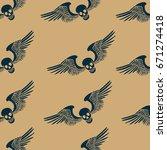 skull wings hand drawing... | Shutterstock .eps vector #671274418