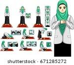 complete muslim prayer guide... | Shutterstock .eps vector #671285272