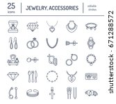 jewelry flat line icons ... | Shutterstock .eps vector #671288572
