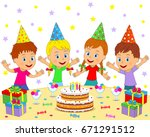 birthday party boys and girls... | Shutterstock .eps vector #671291512