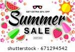 summer sale template horizontal ... | Shutterstock .eps vector #671294542