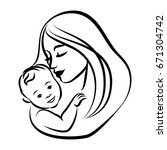 mother with her baby. stylized... | Shutterstock .eps vector #671304742