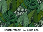 vector seamless pattern with... | Shutterstock .eps vector #671305126