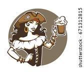 pirate party  vector portrait... | Shutterstock .eps vector #671312815