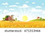 rural scene with the farm ...   Shutterstock .eps vector #671313466