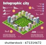 city isometric infographics... | Shutterstock .eps vector #671314672