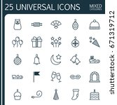 holiday icons set. collection... | Shutterstock .eps vector #671319712