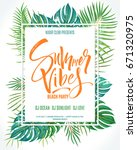 summer vibes beach party poster.... | Shutterstock .eps vector #671320975