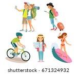 people traveling. active summer ... | Shutterstock .eps vector #671324932