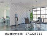 3d render   open plan office  ...   Shutterstock . vector #671325316