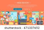 web design flat concept....   Shutterstock . vector #671337652