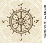vintage ship wheel. vector | Shutterstock .eps vector #67133788