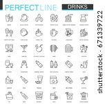 drinks thin line web icons set. ... | Shutterstock . vector #671339722