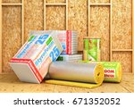 a rolls of insulation glass... | Shutterstock . vector #671352052