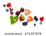 fresh berries on white... | Shutterstock . vector #671357878