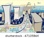 caricature of the city. tunnel... | Shutterstock .eps vector #67135864